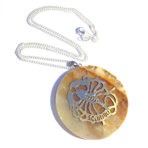 Scorpio Astrological Sign White Onyx Necklace-Whitestone Jewelry Co.
