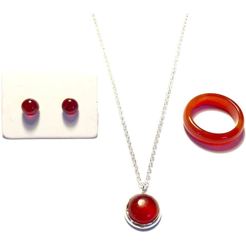 Strawberry Rhubarb Agate Stone Ring, Necklace, and Earring Set-Whitestone Jewelry Co.