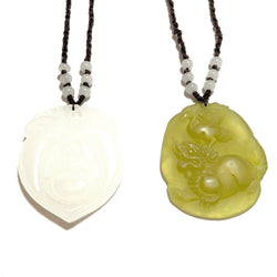 White Buddha or Yellow Lion & Crane Jade Necklace-Whitestone Jewelry Co.