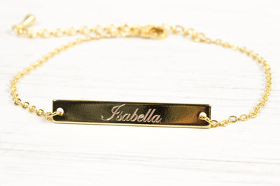 Custom Skinny Gold Bar Bracelet, Nameplate Date Tiny name plate initial Bracelet, ID Bracelet, Mother's day, Bridesmaids, Gift for her - product_type] - Beautiz
