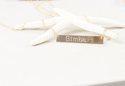 14K Gold Filled Handwriting Name Bar Nameplate Necklace, Personalized Engraved Name Plate Thin Chain Jewelry Gift for her - product_type] - Beautiz