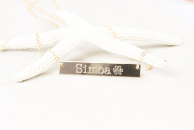 14K Gold Filled Pet Name Bar Nameplate Necklace, Dog Memorial Paw Print Tiny Animal Pawprint Jewelry Lover