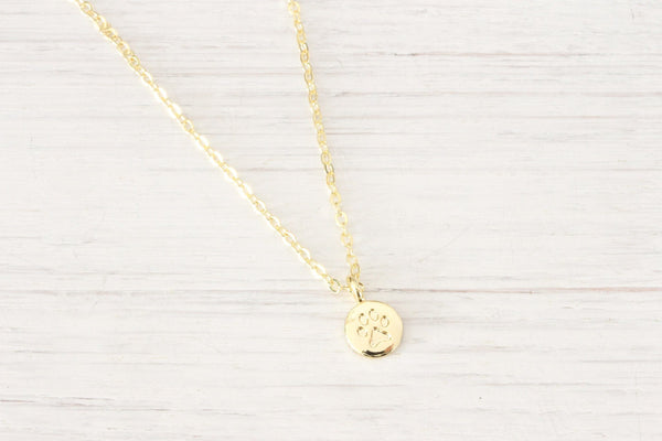 Gold Dog Paw Print Necklace