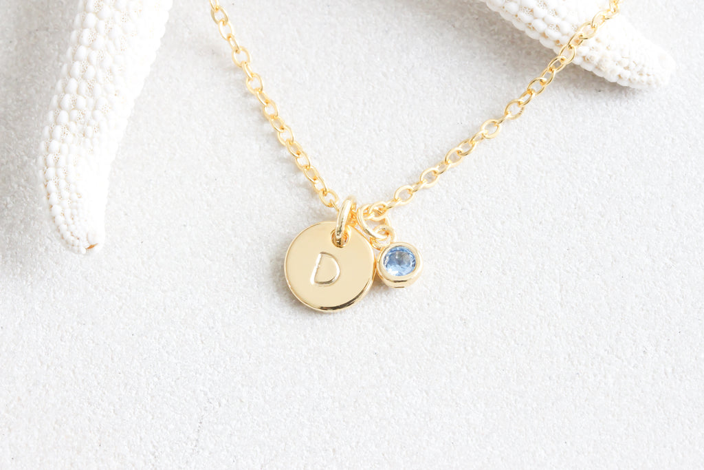 Tiny Gold Dot Initial hand Stamped Disc Birthstone Necklace | Beautiz