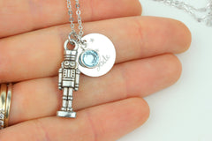Personalized Nutcracker Silver Necklace Swarovski Birthstone Crystal