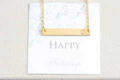 Personalized Gold Initial Bar Necklace, Dainty Hand Stamped Initial Letter Necklace Friendship Necklace, bridesmaid gift, Christmas gift - product_type] - Beautiz