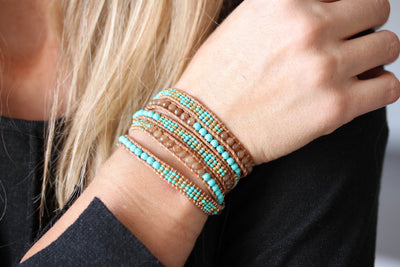 Boho Wrap Bracelet. Leather Beaded Bracelet Semi-precious stones Turquoise Beads 5x Wrap Bracelet - [product_type] - Beautiz