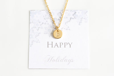Initial Necklace, Letter Gold Silver Rose Gold Initial Hand Stamped Necklace - Beautiz