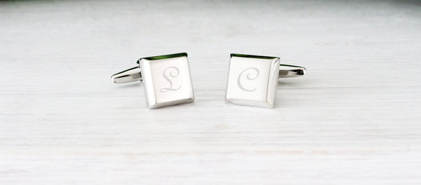 Silver Personalised Engraved Cufflinks, Custom Monogram Initia Beautiz