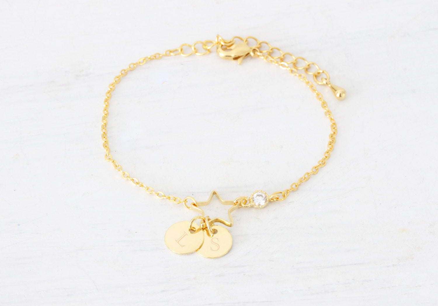 Gold Initial bracelets, Personalized Gold Bracelet, Gold Medal, Gold Engraved Bracelet, Bridesmaids Gift, Wedding Gift, Friendship Bracelet - product_type] - Beautiz