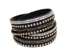 Swarovski Crystal Leather Bangle Bracelet - Black Velvet Crystal Wrap Bracelet - Double leather wrap Bracelets, leather bracelets for women - product_type] - Beautiz
