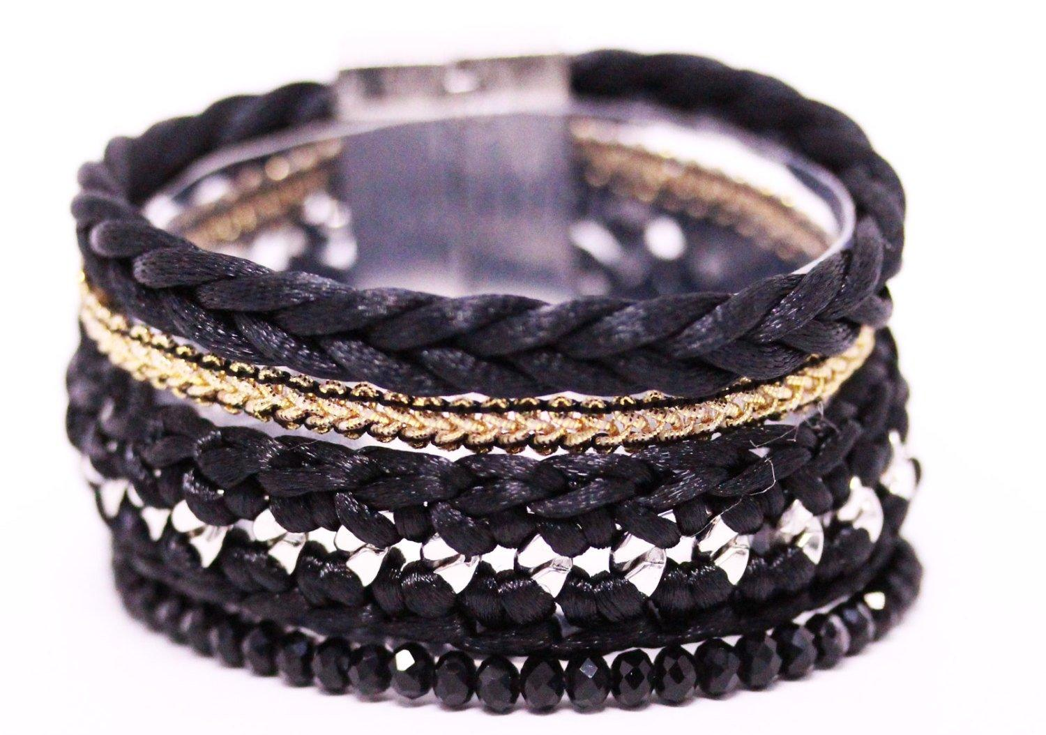Black Boho Brazilian Bracelet - Multi Layer Bracelet - Woman Boho Bracelet - Black Bracelet - product_type] - Beautiz