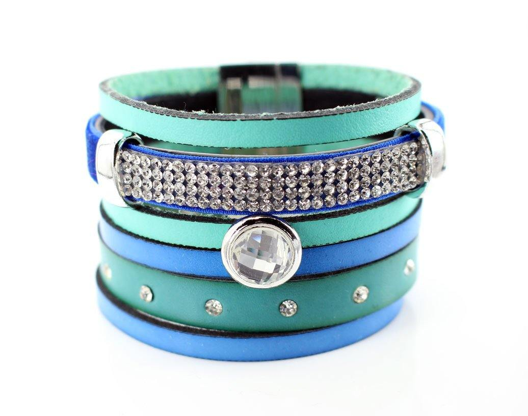 Blue Leather Wrap Bracelet, Boho Cuff bracelet White Rhinestone Crystals, Gift for her - product_type] - Beautiz