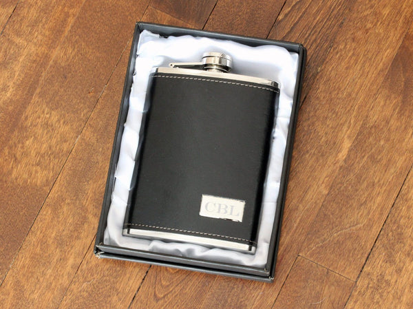 Personalized Flask Engraved Black Hip Flask, Leather Stainless Beautiz