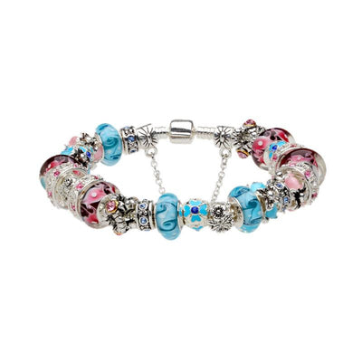 Sterling Silver Charm Bracelets, Blue and Pink Murano Pink Glass Beads - product_type] - Beautiz