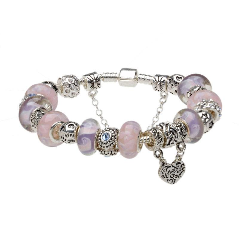 Sterling Silver Charm Bracelets, Purple & Pink Murano Glass Beads - Statement Bracelet - product_type] - Beautiz