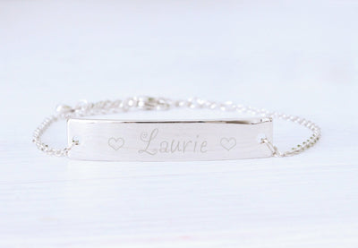 Personalized Silver Bracelet, Engraved Bar Name, Woman Bracele Beautiz
