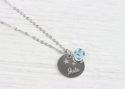 Personalized Silver Necklace Swarovski Birthstone Crystal - product_type] - Beautiz