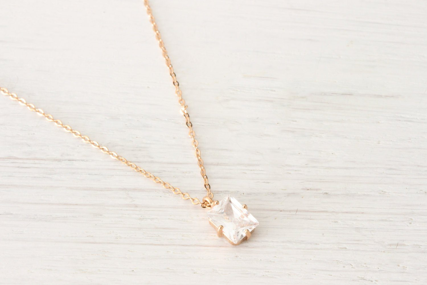 Tiny Rose Gold Austrian Crystal rectangle Necklace - product_type] - Beautiz