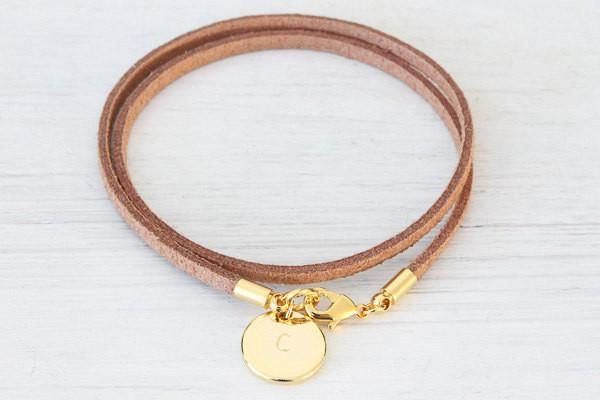 Personalized Bracelet Velvet leather bracelet, Name Gold Brace Beautiz