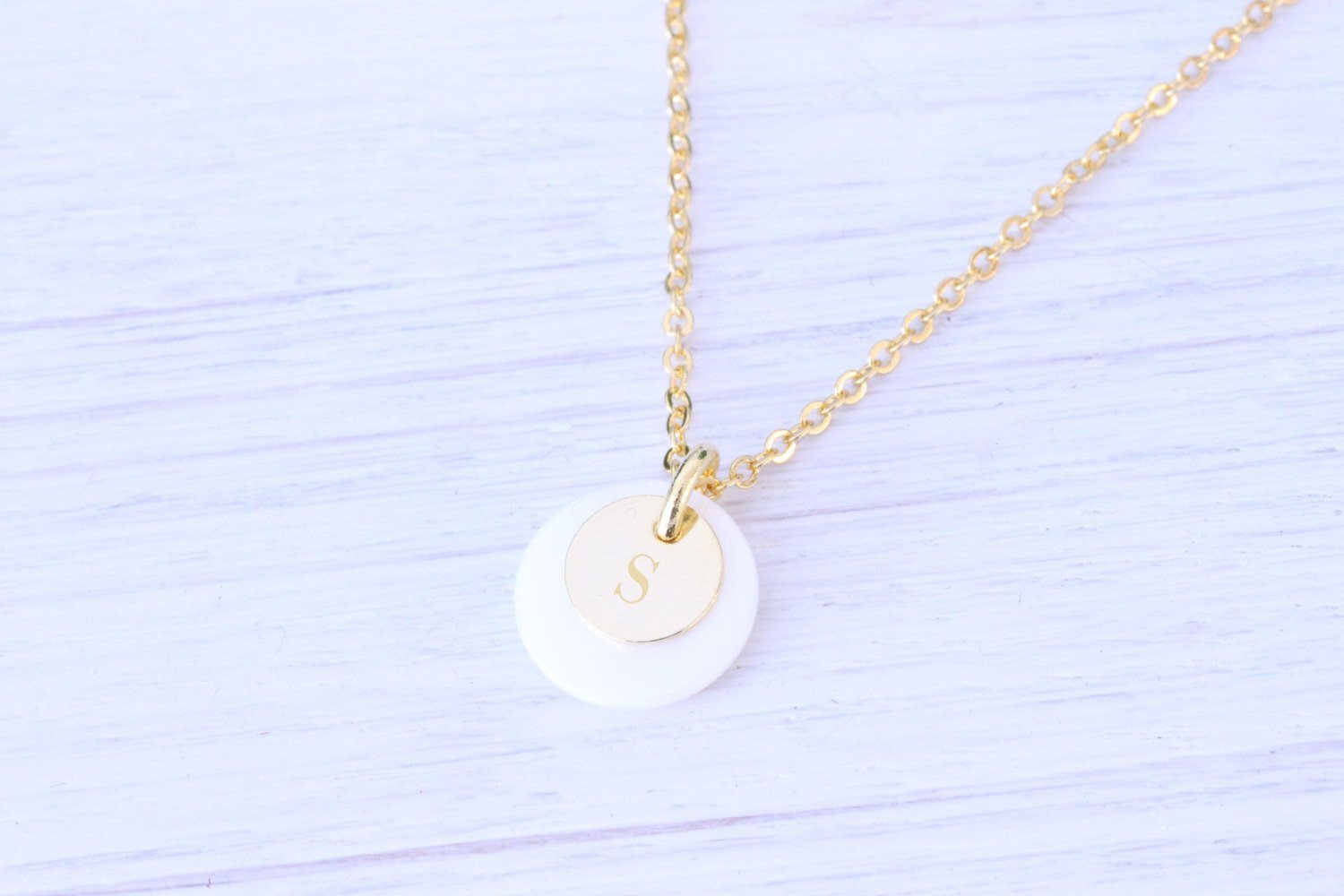 Personalized Gold Necklace, Mother of Pearl initial monogram N Beautiz