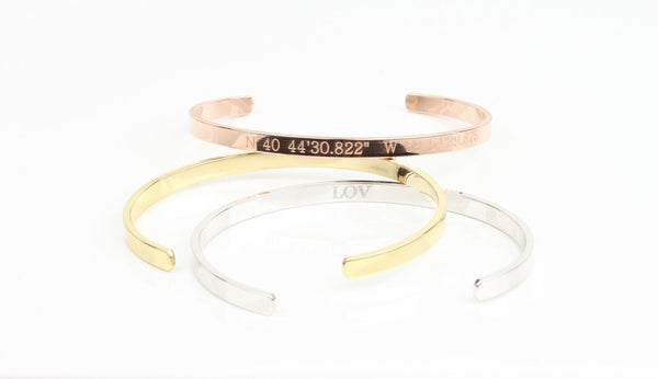 Gold, Rose Gold, Silver Custom Bangle Bracelets, Personalized Beautiz