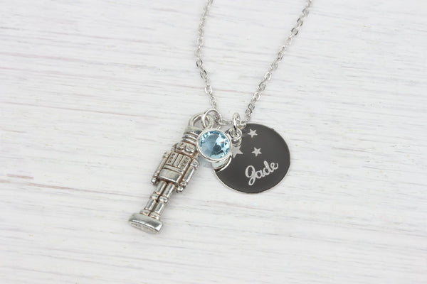 Personalized Nutcracker Necklace Swarovski Birthstone Crystal, Beautiz