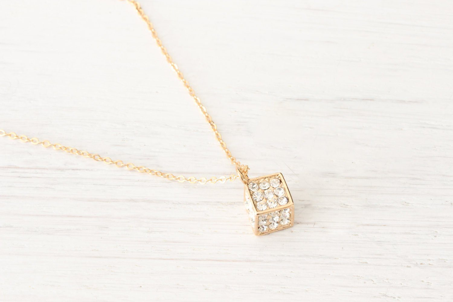 Tiny Dainty Gold Cube Necklace Austrian Crystals, Cube Charm,  Beautiz