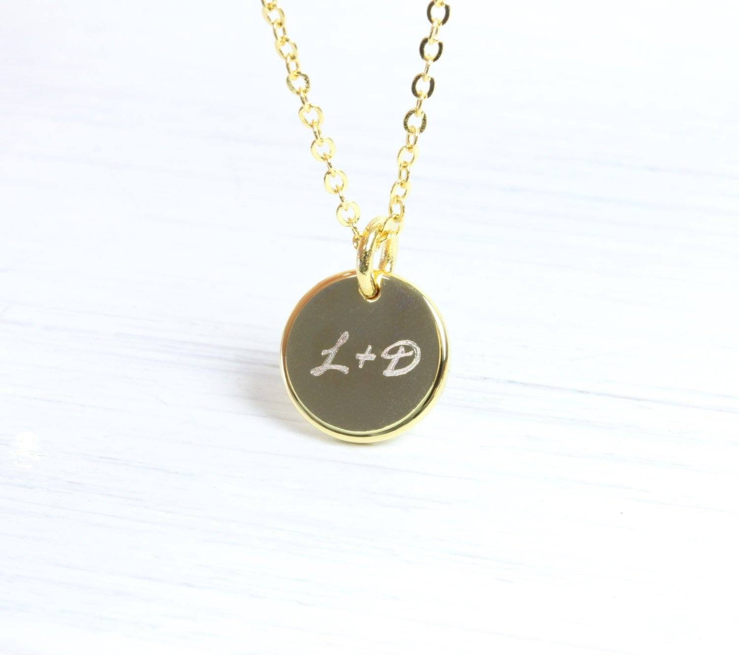 Personalized Gold Name Initial Monogram Necklace, Engraved Necklace, Gift for her, Custom, Christmas Bridesmaids Wedding