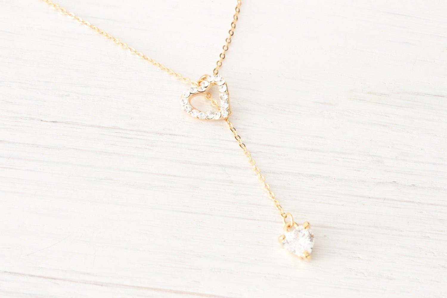 Dainty Rose Gold Lariat Y Necklace Heart Rhinestone Crystals - product_type] - Beautiz