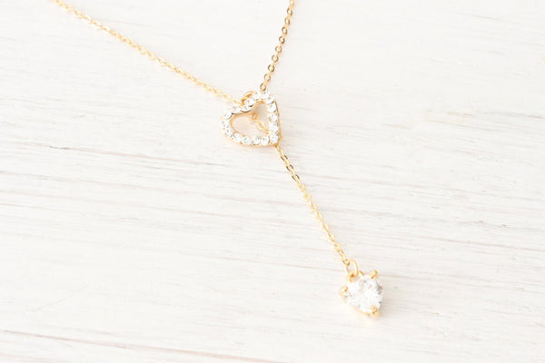 Dainty Rose Gold Lariat Y Necklace Heart Rhinestone Crystals,  Beautiz