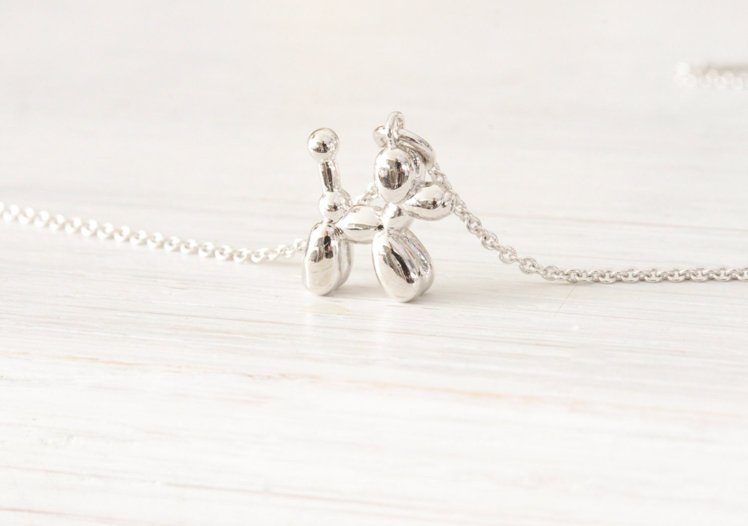 Poodle Balloon Dog Silver Necklace Jewelry, Tiny Dainty Minima Beautiz