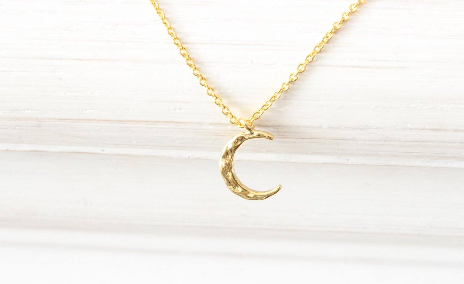 Gold Moon Phase Crescent Moon Necklace, Hammered New Moon, Tin Beautiz