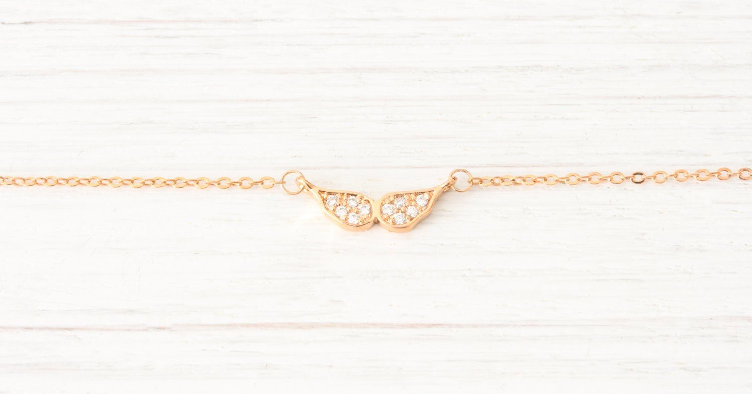 Dainty Tiny Rose Gold Wings Necklace, Minimalist Simple Delica Beautiz