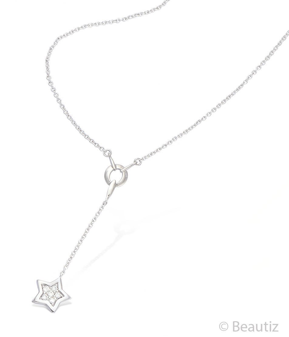 Dainty Sterling Silver Lariat Y Necklace Star Crystals Charm,  Beautiz