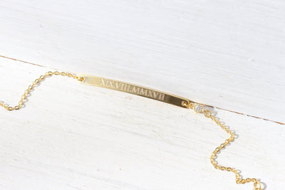 Personalized Skinny Gold Bar Nameplate crystal Bracelet Beautiz