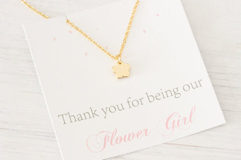 Be My Flower Girl Gold Silver Necklace, Jewelry Gift Beautiz