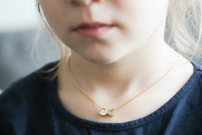 Kids, Children Tiny Solitaire Diamond Small Heart Gold Necklace CZ Crystal, Minimalist Simple Dainty Delicate Everyday, Birthday - product_type] - Beautiz