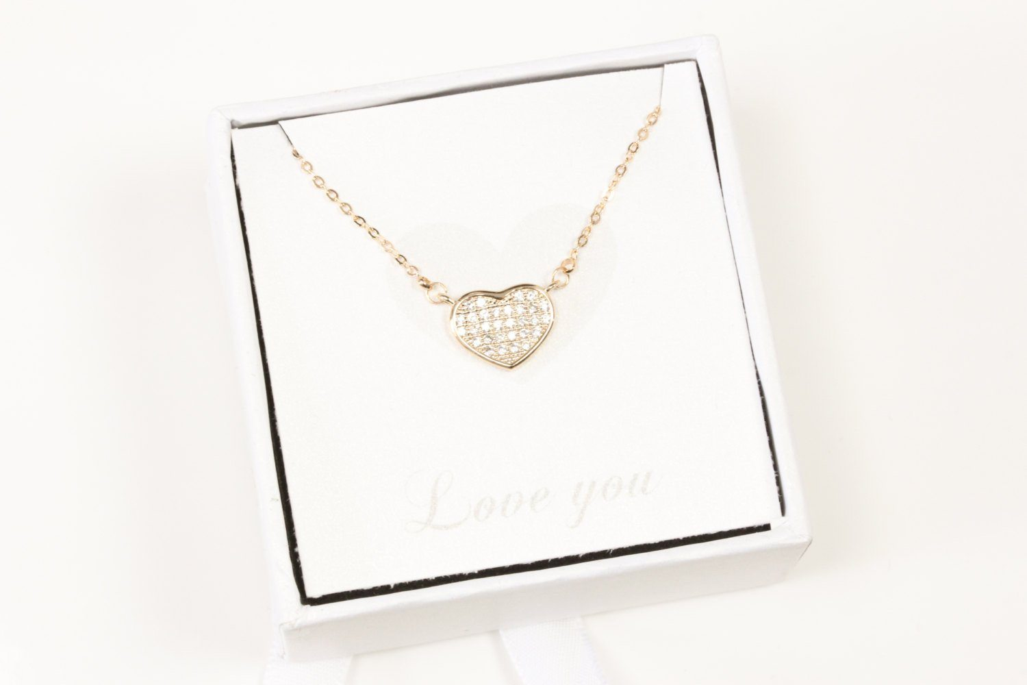 Valentines Day Gift, Tiny Dainty Rose Gold Heart Necklace Simp Beautiz