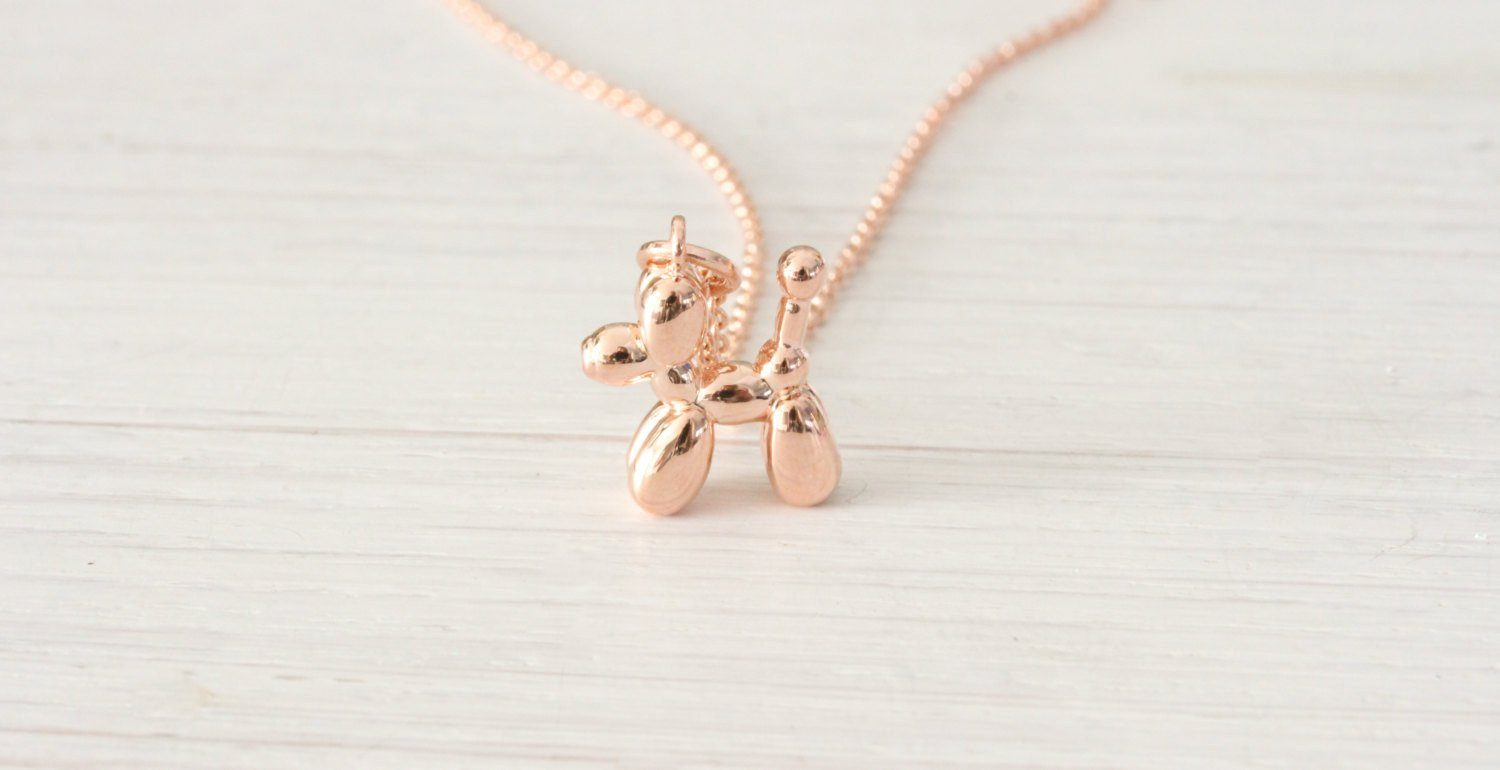Tiny Minimalist Rose Gold Poodle Balloon Dog Necklace - product_type] - Beautiz