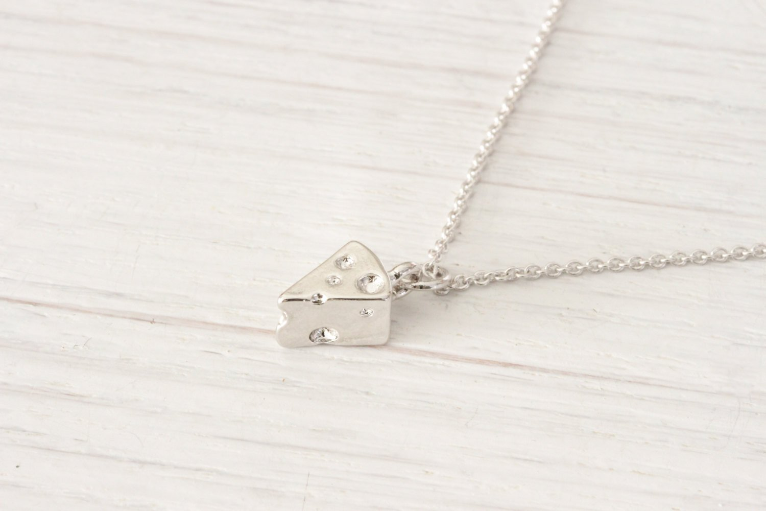 Tiny Silver Swiss Cheese Necklace, Food Jewelry Friendship Del Beautiz