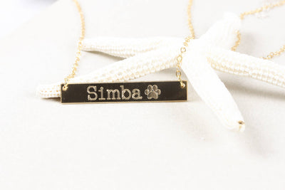 14K Gold Filled Pet Name Bar Nameplate Necklace, Dog Memorial Paw Print Tiny Animal Pawprint Jewelry Lover - product_type] - Beautiz