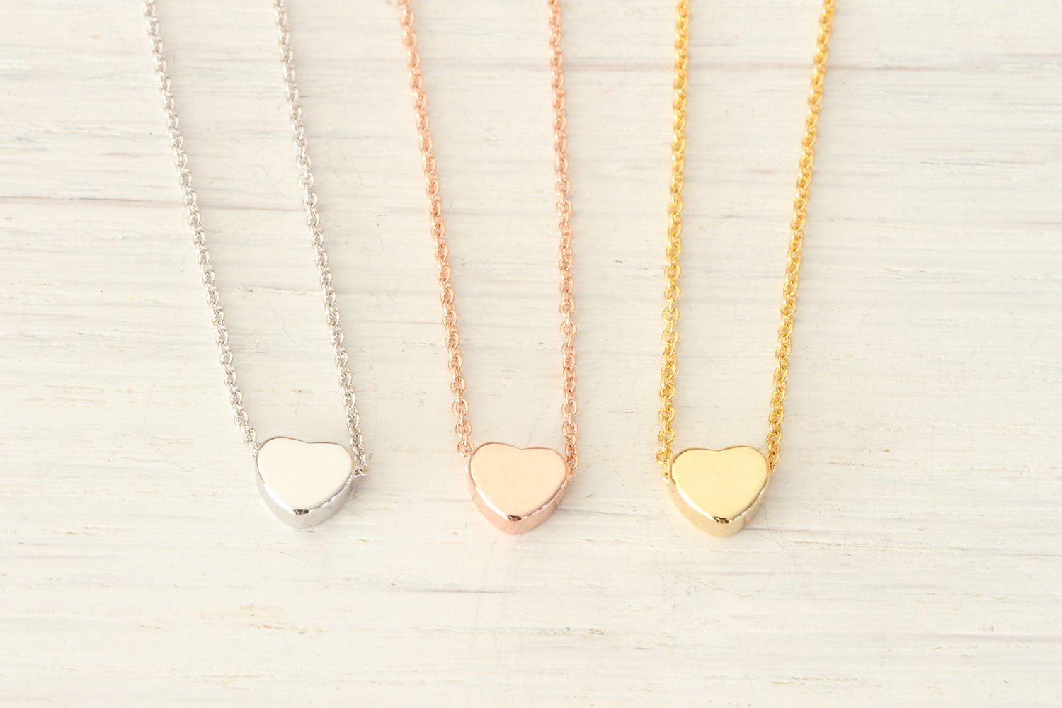 Tiny Gold, Rose Gold, Silver Heart Necklace, Initial Minimalist Simple Dainty Delicate Everyday, Gift for her Best friend Kids Name - product_type] - Beautiz