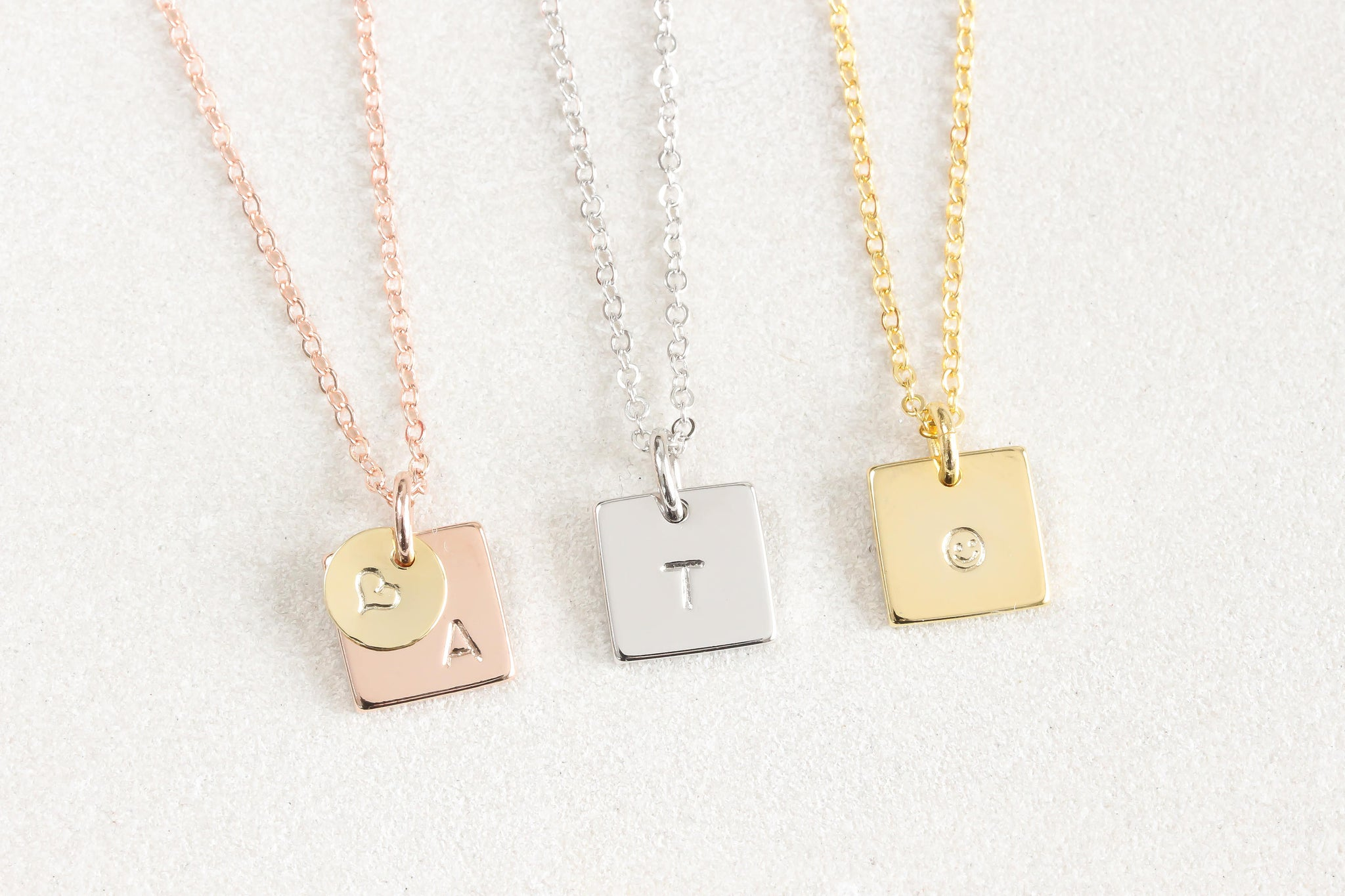 Tiny Gold Rose Gold Silver initial hand Stamped Square Disc Necklace, Small Letter Minimalist Delicate Everyday, Bridesmaids Necklace - product_type] - Beautiz