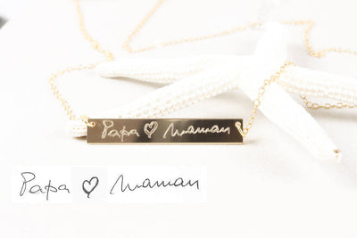 14K Gold Filled Handwriting Name Bar Nameplate Necklace, Personalized Engraved Name Plate Thin Chain Jewelry Gift for her