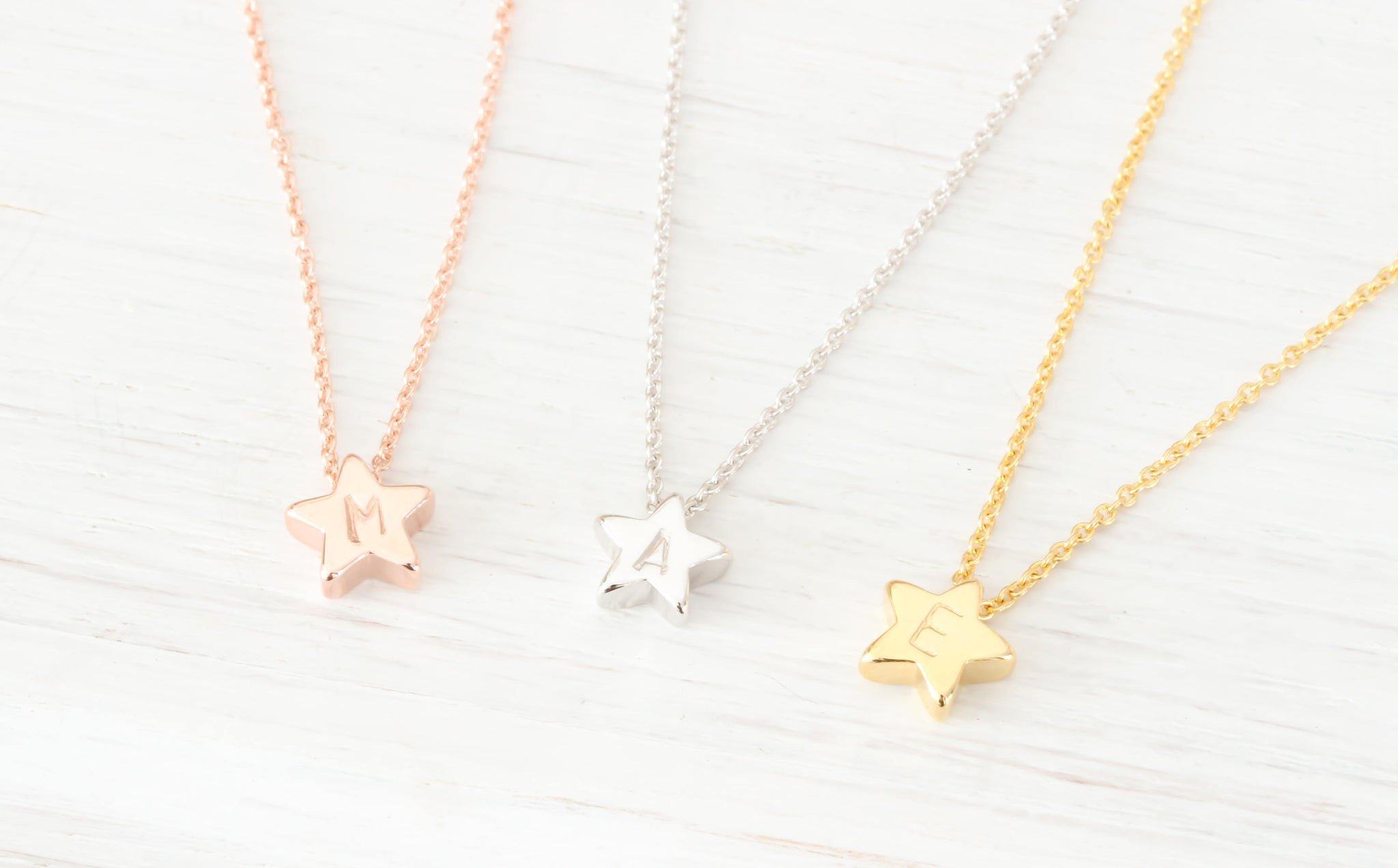 Tiny Gold, Rose Gold, Silver Star Charm Initial Necklace Beautiz