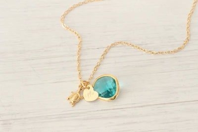 14K Gold Filled Initial Heart Sea Turtle Necklace with Blue Crystal Bead, Hand Stamped Initial Necklace, Tiny Heart Charm