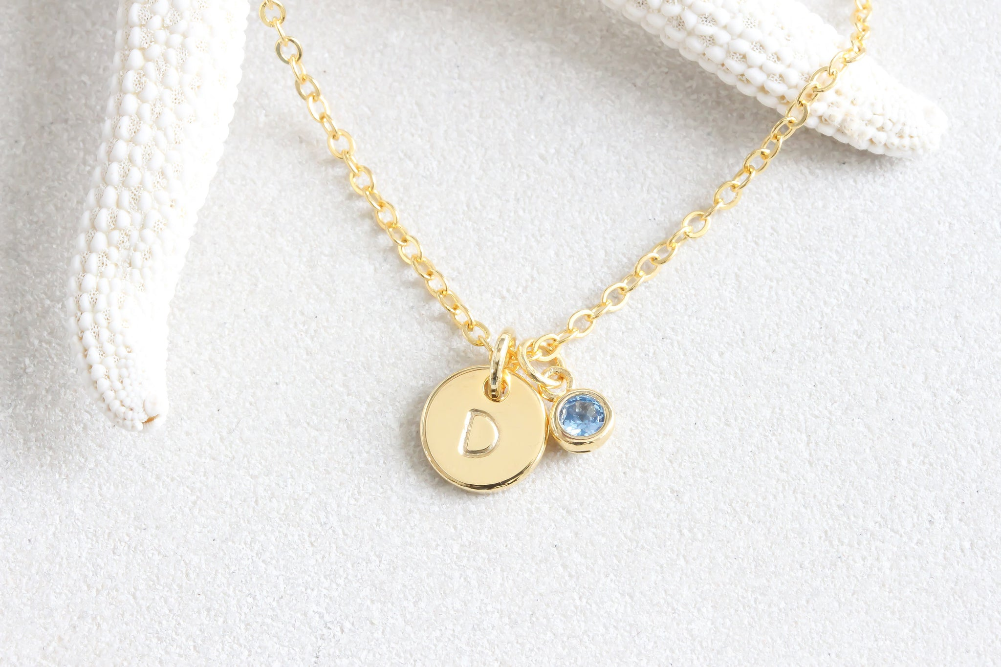 Tiny Gold Dot initial hand Stamped Disc Birthstone Necklace, Bridesmaids Letter Necklace Small Minimalist Necklace Jewelry - product_type] - Beautiz