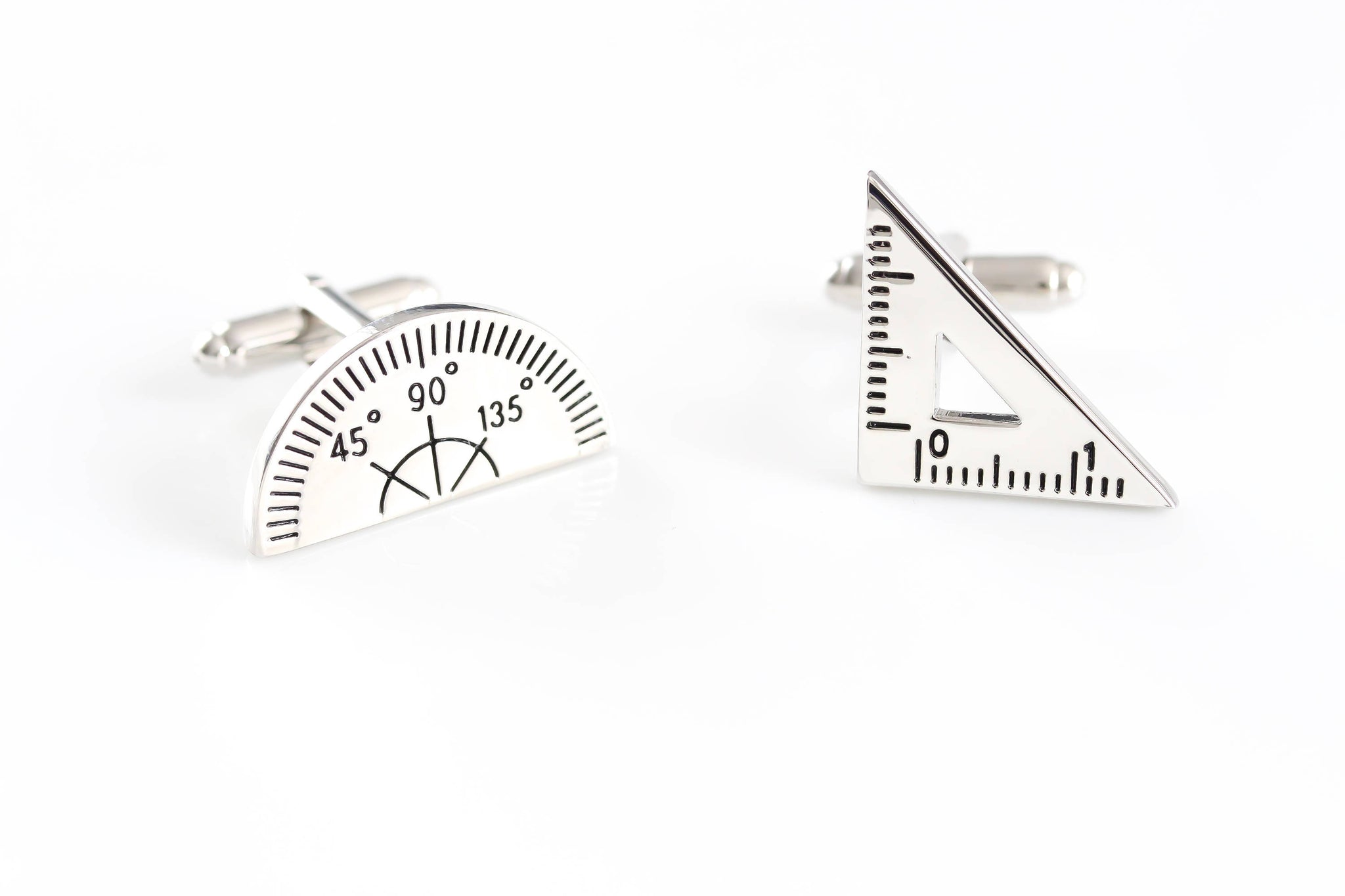 Protractor Cufflinks Math cufflinks Silver Cufflinks Novelty Cufflinks Wedding Cufflinks Groomsmen Science Cool Cufflinks Mens gift - product_type] - Beautiz