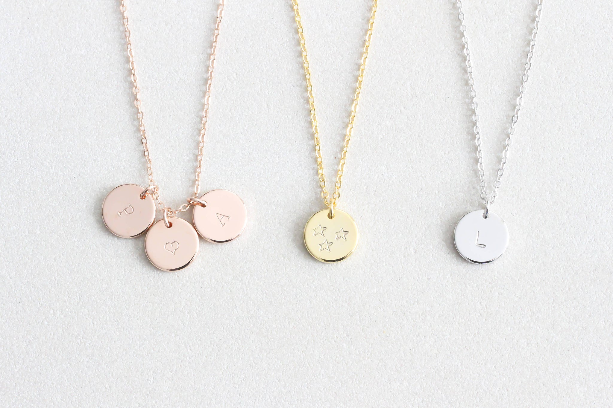 Tiny Initial Disc Necklace, Dainty Initial Gold, Hand Stamped Initial Letter Necklace Friendship Necklace Stocking Stuffer Bridesmaid gift - product_type] - Beautiz